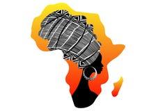 Afrikansk kontinent, härlig afro- kvinna för stående i den traditionella turbanen, afrikansk Kente huvudsjal, traditionell dashik stock illustrationer
