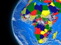 Afrikansk kontinent på det politiska jordklotet royaltyfri illustrationer