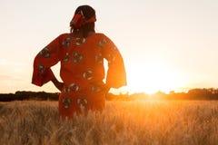 Afrikansk kvinna i traditionell kläder som går i ett fält av skördar Arkivfoton