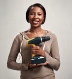 Afrikansk kvinna med drillborren Royaltyfria Foton