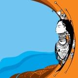 Afrikansk kvinnakontur på en orange bakgrund Vektor Illustrationer