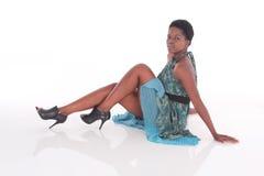 Afrikansk kvinnlig i en blå klänning Royaltyfria Foton