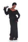 Afrikansk kvinnlig i svart klänning Royaltyfri Fotografi