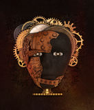 afrikansk maskering Metallcollage Royaltyfri Bild