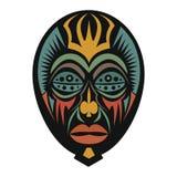 Afrikansk maskering på en vit bakgrund Arkivfoto