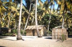 Afrikansk by mellan palmträd i Tofo Royaltyfri Fotografi