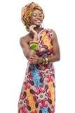Afrikansk modemodell på vit bakgrund. Royaltyfria Bilder