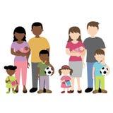 Afrikansk och caucasian familjillustration Arkivbild