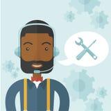 Afrikansk operatör med hörlurar med mikrofon som kundtjänst stock illustrationer