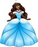 Afrikansk prinsessa In Blue Dress Fotografering för Bildbyråer