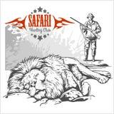 Afrikansk safariillustration och etiketter för att jaga klubban Arkivbild