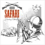 Afrikansk safariillustration och etiketter för att jaga klubban Arkivbilder