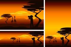 Afrikansk savann med utforskaren och giraff i olika format Royaltyfria Foton