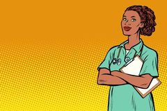 afrikansk sjuksköterska Medicin och hälsa royaltyfri illustrationer