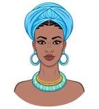 afrikansk skönhet Animeringstående av den unga svarta kvinnan i en turban vektor illustrationer