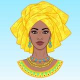 afrikansk skönhet En animeringstående av den unga svarta kvinnan i en turban vektor illustrationer
