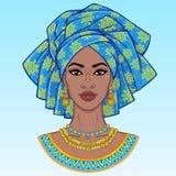 afrikansk skönhet En animeringstående av den unga svarta kvinnan i en turban royaltyfri illustrationer