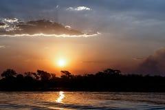 Afrikansk solnedgång på den Chobe floden Arkivfoton