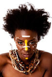 afrikansk stam- skönhetframsida Royaltyfri Foto
