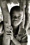 afrikansk svart pojke mig ståendewhite Arkivbild