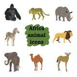 Afrikansk uppsättning för djurtecknad filmvektor Royaltyfri Fotografi
