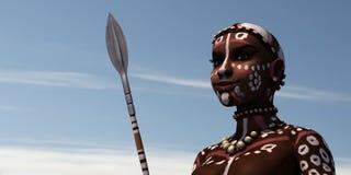 Afrikansk wariorkvinna vektor illustrationer
