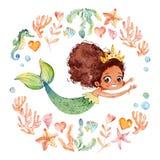 Afrikanska amerikanen behandla som ett barn vattenfärgsjöjungfrun som omges av ramen av havsbeståndsdelar, havshästen, koraller,  royaltyfri illustrationer