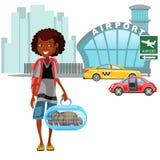 Afrikanska amerikanen Womanan och hennes bagage förvärvade taxibilen och ordnar till till flyget, auto överföring till flygplatsv Arkivbilder