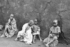 Afrikanska barn från Masaistammen Arkivfoton