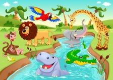 Afrikanska djur i djungeln. royaltyfri illustrationer