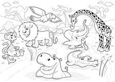Afrikanska djur i djungeln i svartvitt. vektor illustrationer