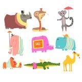 Afrikanska djur med den mänskliga attribut och klädsamlingen av komiska tecknad filmtecken royaltyfri illustrationer