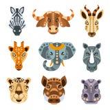 Afrikanska djur stiliserade den geometriska ståendeuppsättningen vektor illustrationer