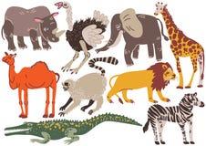 Afrikanska djur uppsättning, noshörning, struts, elefant, Ggiraffe, kamel, lejon, krokodil, sebra, makivektorillustration vektor illustrationer