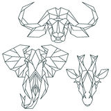 Afrikanska djura symboler, vektorsymbolsuppsättning Abstrakt triangulär stil Arkivfoton
