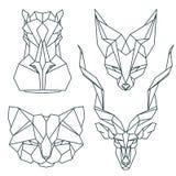 Afrikanska djura symboler, vektorsymbolsuppsättning Abstrakt triangulär stil Arkivbilder