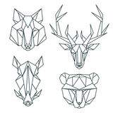 Afrikanska djura symboler, vektorsymbolsuppsättning Abstrakt triangulär stil Arkivfoto