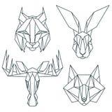 Afrikanska djura symboler, vektorsymbolsuppsättning Abstrakt triangulär stil Royaltyfri Bild