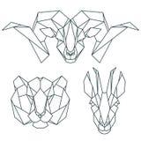 Afrikanska djura symboler, vektorsymbolsuppsättning Abstrakt triangulär stil Royaltyfri Foto