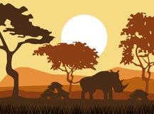 afrikanska djursilhouettes royaltyfri illustrationer
