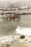 Afrikanska fiskare i Ghana Arkivfoton