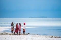 Afrikanska flickor på stranden i den Zanzibar ön Royaltyfri Fotografi