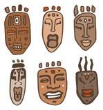 afrikanska illustrationmaskeringar ställde in vektorn Arkivbilder