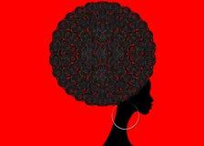 Afrikanska kvinnor för stående, kvinnlig framsida för mörk hud med afro och etniska traditionella örhängen för hår på isolerat, h royaltyfri illustrationer