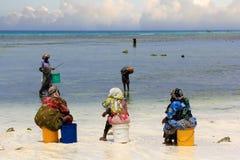 Afrikanska kvinnor i traditionell klänning på stranden Fotografering för Bildbyråer