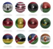 Afrikanska länder (från L till N) sjunker bollar Royaltyfria Foton