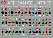 45 afrikanska länder, A-Z Names, flaggor, kontur och nationsflagga över kontur Fotografering för Bildbyråer