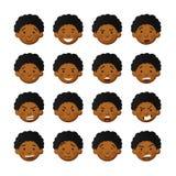 Afrikanska män med rosiga kinder Vektoravatars- och emoticonsupps?ttning royaltyfri illustrationer