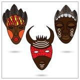 afrikanska maskeringar royaltyfri illustrationer