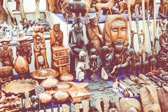 Afrikanska maskeringar, Marocko Presentaffär i Agadir Royaltyfri Bild